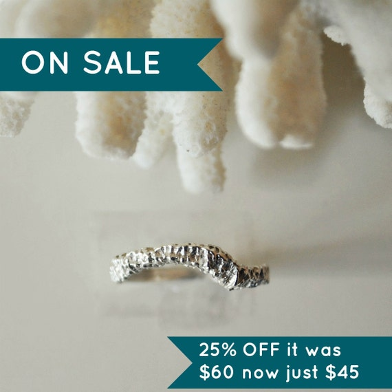 Boxing Day SALE Sea Specimen Ring Sterling Silver -  Size 7