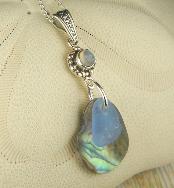 GENUINE Abalone Necklace And Cornflower Blue Sea Glass