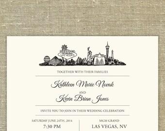 Las Vegas Skyline Destination Wedding Invitation Suite; SAMPLE ONLY