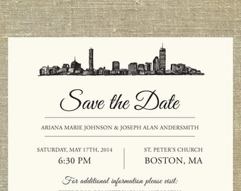 Boston Skyline Save the Date SAMPLE ONLY; Boston Massachusetts city skyline