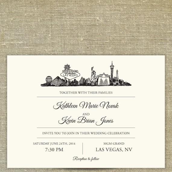 Las Vegas Wedding Invitation Wording: Las Vegas Skyline Destination Wedding Invitation Suite SAMPLE