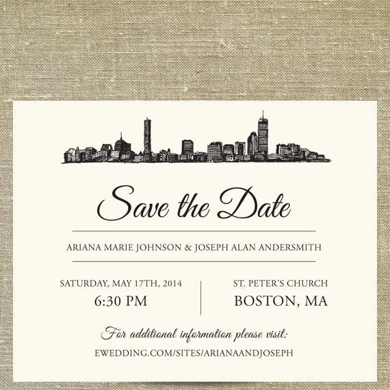 Boston Skyline Save The Date Sample Only Boston Massachusetts