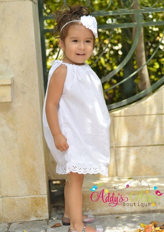 White Dress White Eyelet Dress Easter Dress Pillowcase