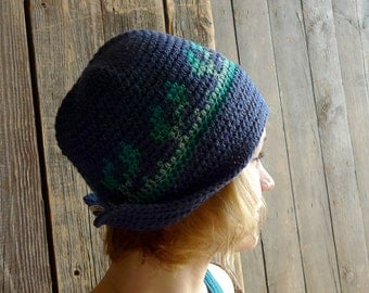 Blue Earflap Hat, Crochet Brim Hat, Cloche, Wool Beanie, Folk Winter Accessories - Tapestry Crochet - Turquoise, Aqua Ombre - Women Adult