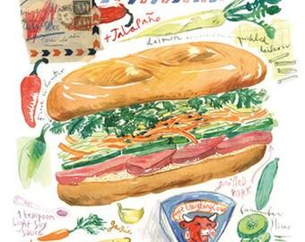 Banh mi vietnamese sandwich illustration print, Kitchen art, 8X10, Illustrated recipe, Asian food poster, Watercolor painting, Home decor