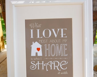 What I love most about my home... 8x10 Print. Custom Home design. Modern graphic.