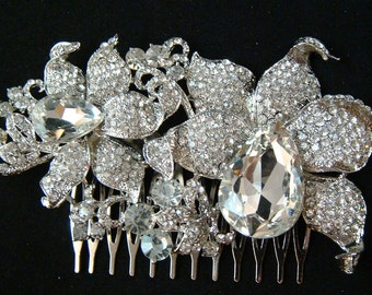 Large Orchid Rhinestone Hair Comb / bridal rhinestone hair comb / rhinestone flower hair comb / bridal orchid hair flower