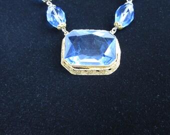 CZECHOSLOVAKIA Necklace/  Antique Blue Art Glass Necklace / czech jewelry