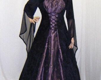 gothic dress, renaissance dress, ELVEN dress, medieval dress, vampire dress, halloween wedding dress, pagan dress