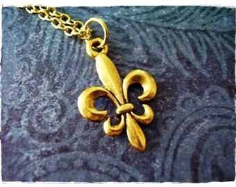 Gold Fleur de Lis Necklace - Antique Gold Pewter Fleur de Lis Charm on a Delicate Gold Plated Cable Chain or Charm Only