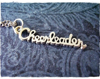 Silver Cheerleader Necklace - Silver Pewter Cheerleader Charm on a Delicate Silver Plated Cable Chain or Charm Only