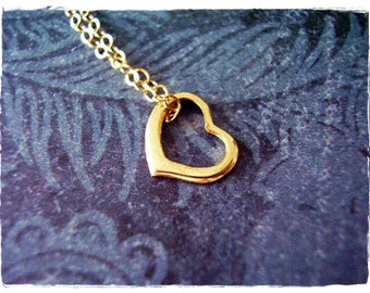 Tiny Gold Floating Heart Necklace - Gold Filled Floating Heart Charm on a Delicate 14kt Gold Filled Cable Chain or Charm Only