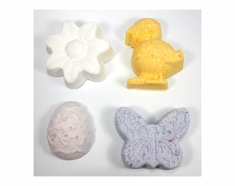 Set of 4 spring/Easter bath bombs - easter, chick, egg, butterfly, flower, oestara, bath fizzies, bath fizzy