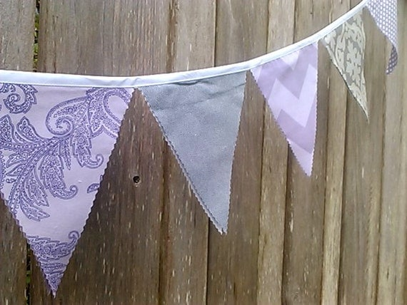 Bunting Lavender, Purple and Grey Fabric Pennants  Chevron, Polka Dots, Damask