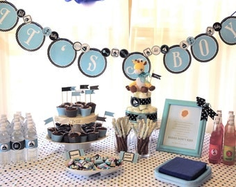 Oh Boy Baby Shower PRINTABLE It's A Boy Banner from Love The Day