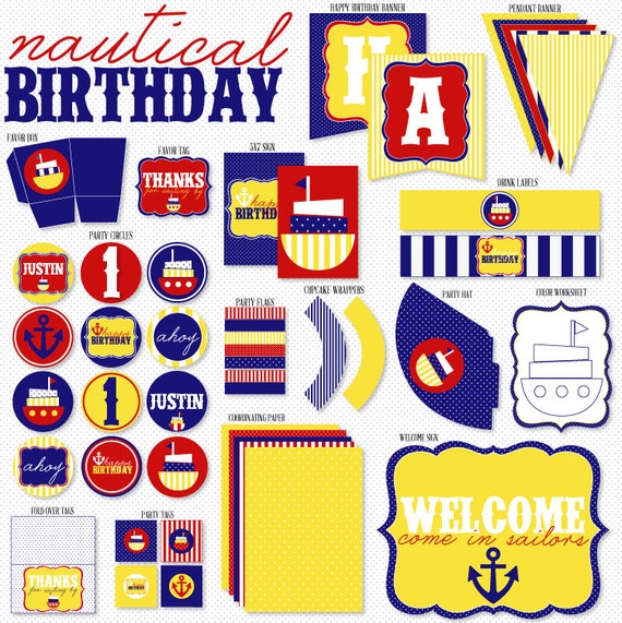 Preppy Nautical Party PRINTABLE Birthday Full Party from Love The Day