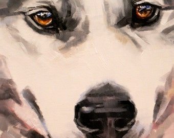 dog painting original oil portrait siberian husky close up amber eyes wolfish grin