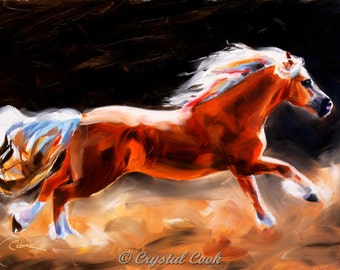 Horse Decor Oil Painting Beautiful Palomino Running expressive impressionistic colorful wall art for horse lovers