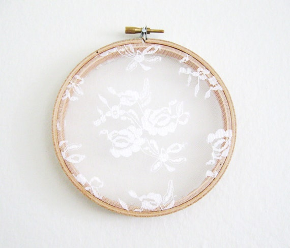 Lace earring holder shabby chic embroidery hoop by