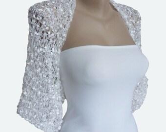 Wedding  Bolero, Knit White Bolero Sleeves, Shrug, Wrap, Weddings, Bridal, Bridesmaid, Women, Elagant Bolero, Romantic Bolero Shrug