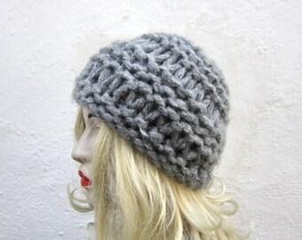 Chunky Hat, Knit Hat, Knitting Women Hat, Winter Hat, Grey Beanie Hat