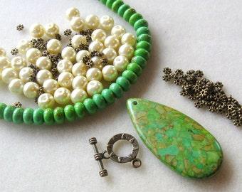 Mosaic Turquoise, Magnesite Beads, Gemstone Beads,  Glass Pearls, Antiqued  Brass Jewelry Making Beads, DIY Jewelry Kit, Bead Kit, Green