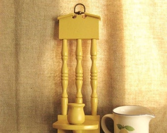 Retro Candle Sconce in Honey Mustard /  Yellow Wood Wall Sconce