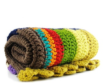 Rainbow Striped Knit Rug / Tapestry