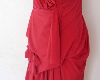 Sleeveless Pink Drape Dress with layered look and raw edge/ handmade by Cheryl Johnston