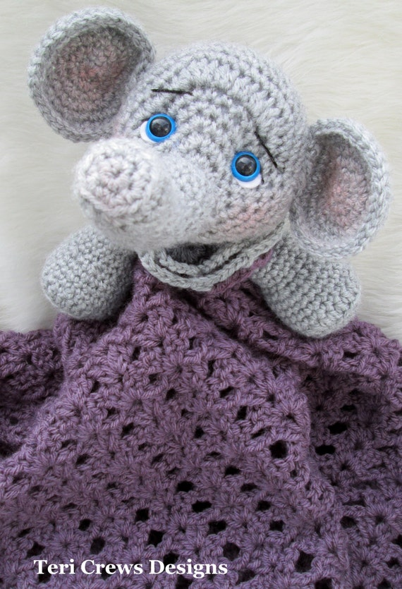 Crochet Elephant Blanket : Crochet Pattern Elephant Huggy Blanket by Teri Crews Wool and Whims ...