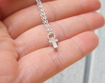 Tiny Silver or Golden Cross Necklace Minimalist Modern Pendant, Small tiny Tiny Cross