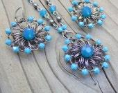 Bright Blue Jewelry Set - Swarovski Crystal Jewelry Set - Wire Crochet Jewelry - Blue Bridesmaid Gift - Rustic Wedding - Ultramarine