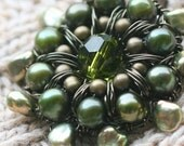 Forest Green Brooch - Pin - Olive Green Wire Crochet Brooch - Freshwater Pearl - Woodland Jewelry - Rustic Wedding - Swarovski Crystal