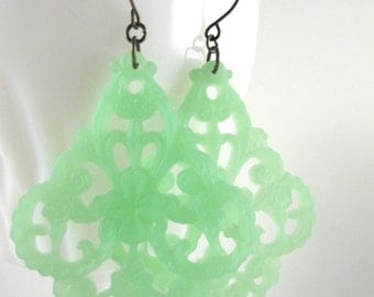 Mint Green Earrings Filigree Earrings Large Pastel Green Earrings Spring Earrings Easter Fashion