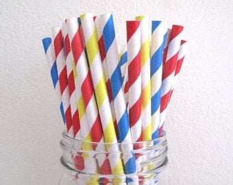 50 Red Yellow Blue Carnival Circus Combo Striped Paper Straws