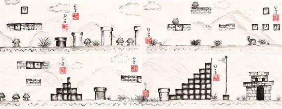 Super Mario Bros. level 1 - 1 - sumi-e watercolor painting (Print)