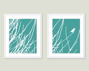 Bird on Twig Print - Bird Wall Art - Bird Art - Teal Blue Decor - Modern Decor - Woodland Art - Nursery Wall Art - Bedroom Wall Art