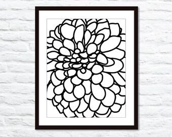 Modern Dahlia Flower Art Print - Black and White Flower - Dahlia  Wall Art - Modern Decor - Black Flower Print - Dahlia Print - Aldari Art
