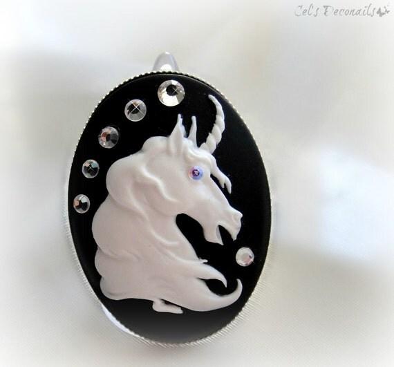Unicorn gothic cameo ring, gothic lolita accessories, magical unicorn ring