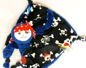 """Reserved for a Great Customer - (2) 12""""x12"""" Pirate Lovey Blankets in Blue and Red with Embroidery"""
