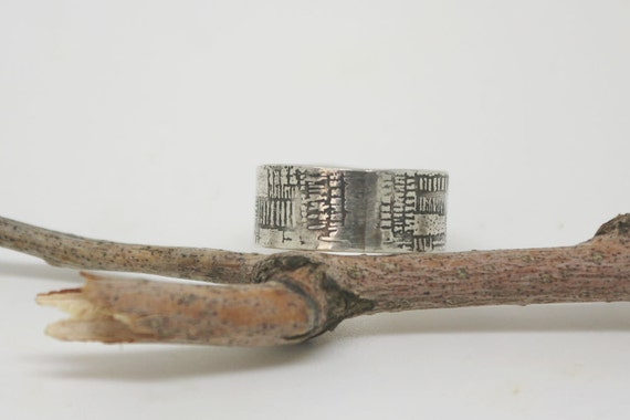 Unique wide silver band, wide rustic wedding ring, unique man's ring