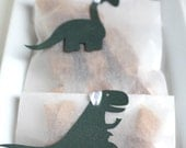 Forest Green Dinosaur Baby Shower Favors - Fleur de Sel Caramels in White Glassine Envelopes - 25 Guests