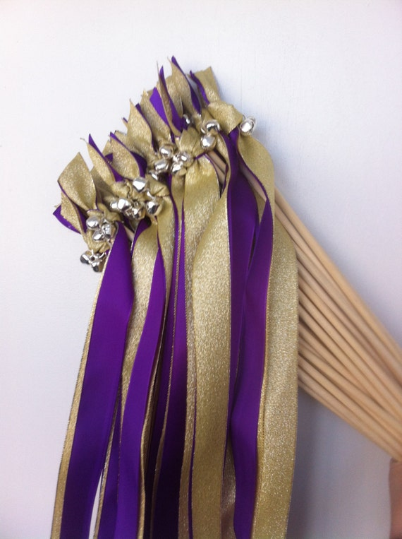 120 Gold or Silver Metallic Ribbon and Satin Wedding Wands Any Color