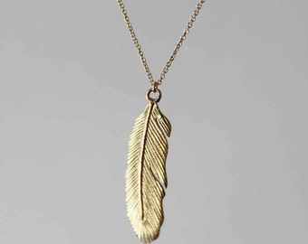 delicate feather pendant. brass with 14k gold fill. dainty chain •• sara necklace