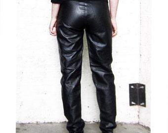 1980s Black Leather riding pants High Rise Vakko  size M Tough Girl