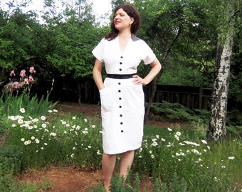 80s dress Karen Alexander shirtwaist 80s day dress White cotton M