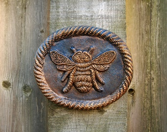 Bee Garden Art, Rustic Stone Sculpture, Beekeeper Wall Plaque, Woodland Garden Housewarming Gift
