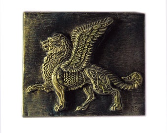 Winged Lion Stone Sculpture Wall Plaque, Italian Home Decor Gift for Him, Venice Lion, Italy St Mark Lion, Venice Art