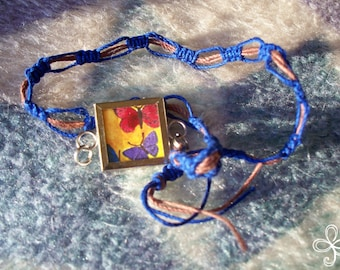 All the Butterflies Memory Glass Open Square Bamboo Cord Necklace