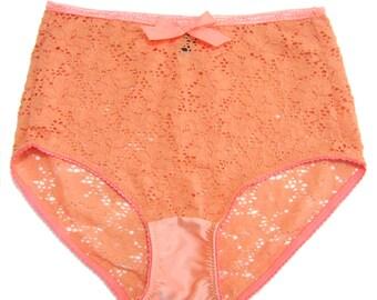 SAMPLE SALE !LANA  Retro Coral Lace High waist brief - vintage short lingerie